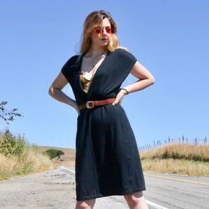 Black V-Neck Casual Dress